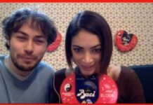 Baci Perugina, Elodie e Riccardo testimonial foto scattata durante la diretta streaming da Loredana Carena