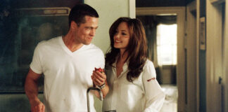 Brad Pitt e Angelina Jolie in una scena di Mr and Mrs Smith
