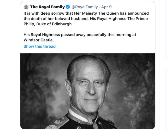 La scomparsa del Principe Filippo