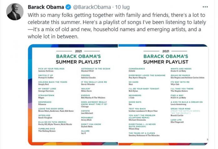 Obama condivide la playlist dell'estate 2021